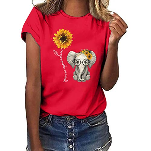 Sunflower Print Clothes Women,LYN Star❀ Summer Short Sleeve Loose Casual O-Neck Floral T-Shirt Tops I Like You 3000 Tops Red (Best Laptop For 500 Pounds)