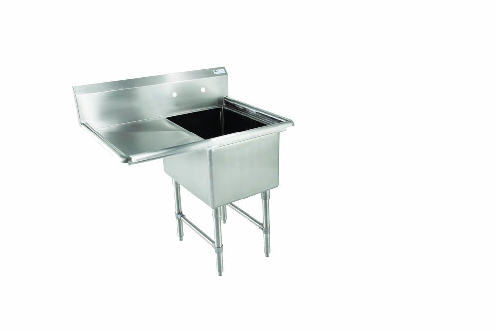 John Boos E Series Stainless Steel Sink, 12'' Deep Bowl, 1 Compartment, 18'' Left Hand Side Drainboard, 38-1/2'' Length x 23-1/2'' Width
