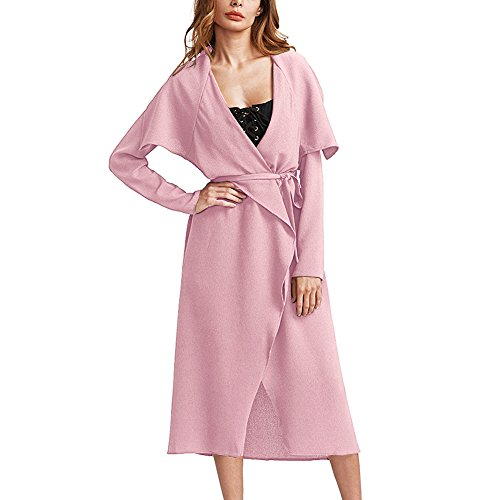 Women's Casual Long Sleeves Big Lapel Outwear Trench Coat Cardigan Pink (Pink Coat)