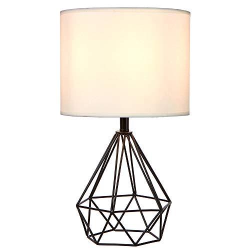 SOTTAE Black Hollowed Out Base Modern Livingroom Bedroom Bedside Table Lamp, Desk Lamp with White Fabric Shade (Base Lamp Modern)