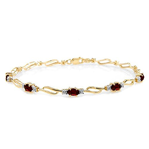 3.39 CTW 14K Solid Gold Tennis Bracelet Garnet Diamond