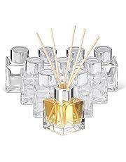 matana - 10 kleine vierkante glazen flessen (50ml) voor kamergeur-diffuser incl. 40 geurstaafjes