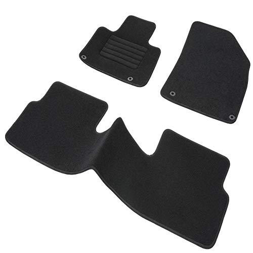 DBS 1763699 Alfombrillas de coche - A medida - Alfombrillas para coche - 3 uds. - Antideslizante - Moqueta en negro 900 g/m² - Aspecto terciopelo - ...