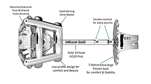NANA 14k Gold Post & Sterling Silver 4 Prong CZ Stud Earrings -Platinum Plated-5.25mm-1.00cttw