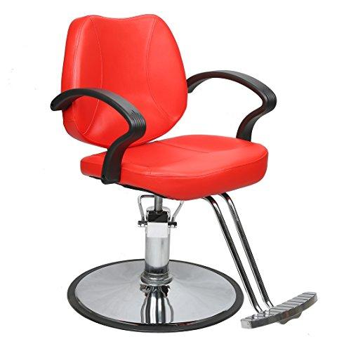 BarberPub Hydraulic Hair Salon Chair Beauty Salon Spa Barber Chair for Hair Stylist Makeup Chair 2057 (Red)