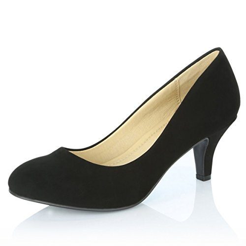 Ladies Dress Pumps (DailyShoes Women's Comfortable Elegant High Cushioned Casual Low Heels Formal Office Lady Round Toe Stiletto Pumps Shoes, Black Nubuck PU, 8 B(M) US)