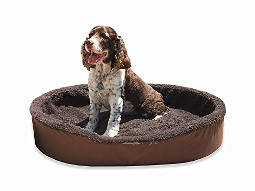 - Dog Bed King USA Cuddler Nest Pet Beds. X-Large (Sleep Area: 38 x 26) Brown Exterior/Imitation Brown Lambswool Interior.