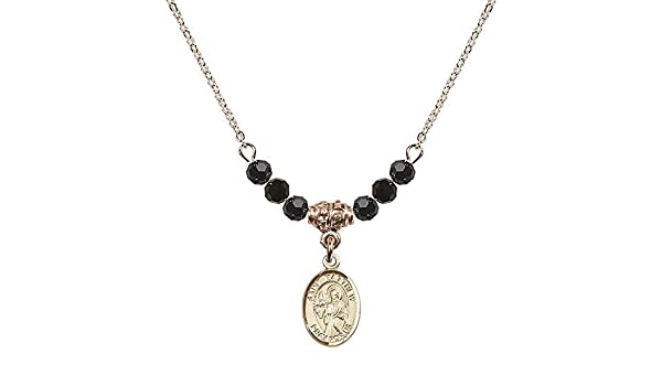 18-Inch Rhodium Plated Necklace with 6mm Faux-Pearl Beads and Sterling Silver Saint Ursula Charm.