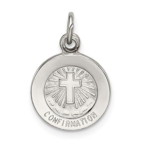 Solid 925 Sterling Silver Charm Pendant Confirmation Medal (14mm x 12mm)