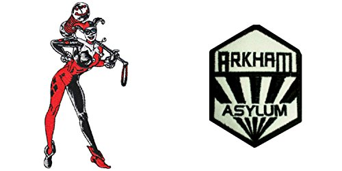 DC Comics (2pack) Harley Quinn Standing and Arkham Asylum Iron/Sew-On Embroidered Patch (Asylum Costume)