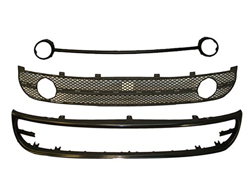 Bundle 2001-2005 New Beetle Front Bumper Lower Spoiler Grille Fog Lamp Trim 3Pcs