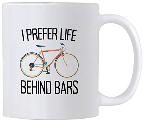 Casitika Cycling Gifts for Men and Women. I Prefer Life Behind Bars. Humorous Bicycle Novelty 11 oz Mug. Gift idea for Bike ()