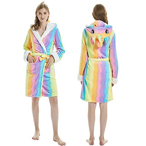 bd91418cb Adult 3D Animal Unicorn Bathrobe Soft Hooded Fleece Plush Pajamas Dressing  Suits