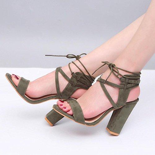 HUHU833 Women Ladies Block Platforms Bandage Shoes Buckle High Heels Sandals Amy Green n771SxKx9
