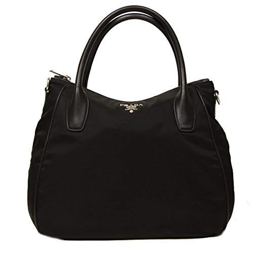 Prada Nero Black Tessuto Soft Calf Leather and Nylon Hobo Handbag BR4992 (Nylon Prada Handbag)