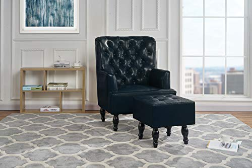 Classic Living Room Tufted PU Leather Armchair with Foot Rest (Dark Blue) (Leather Chesterfield Chair)