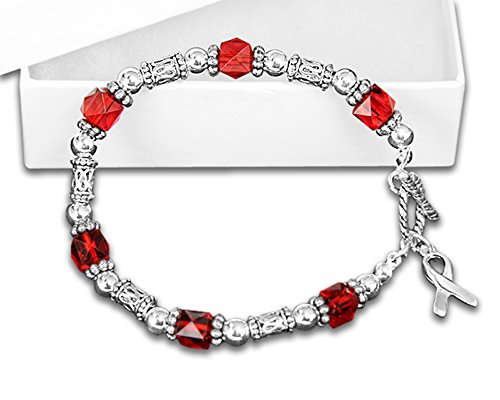 Fundraising For A Cause Red Beaded Bracelets w/Silver Ribbon Charm (Wholesale Pack - 10 Bracelets)