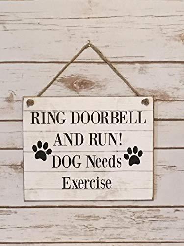 Dog Sign For Door, Ring Doorbell And Run