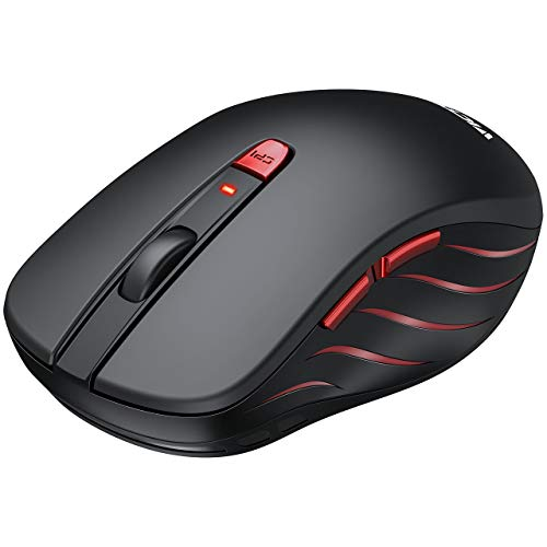 VicTsing Wireless Mouse, 2.4G Portable Ergonomic Optical Mouse,6 Buttons 5 Adjustable DPI -50% Higher Work Efficiency, A Long Battery Life for Laptop, Notebook, PC, Mac-Black ()