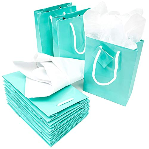 Tiffany Blue Gift Bags (Blue Panda Paper Party Favor Gift Bags with Tissue Paper (20 Pack), Teal, 8 x 5.5 x 2.5)