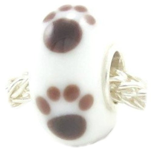Puppy Dog Paw Animal Foot Print Charm Fit Pandora Charms Sterling Silver Core Murano Glass Bead