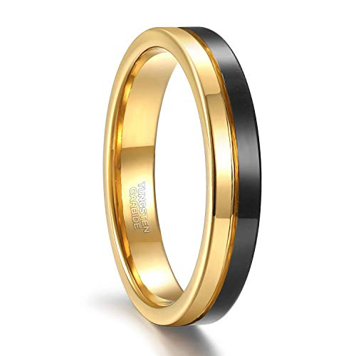 4mm Thin Tungsten Wedding Band for Men Women Two Tone Gold Black Centre Groove Engagement Ring Size 7