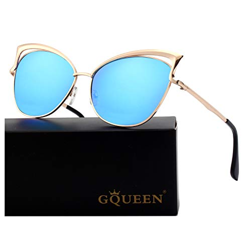 GQUEEN Women's Oversized Polarized Metal Frame Mirrored Cat Eye Sunglasses ()