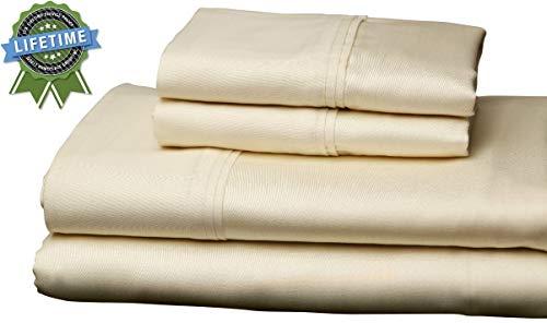 Leggett & Platt Home Collection, Ivory, 310 Thread Count, 100% Sateen Weave Cotton Sheet Set, Queen (Sofa Bed)