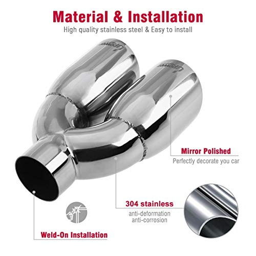 Dual Exhaust Tips 2.5 Inlet 3.5 Outlet 9.5 Long Double Wall Polished 304 Stainless Steel Exhaust Tailpipe Left Right