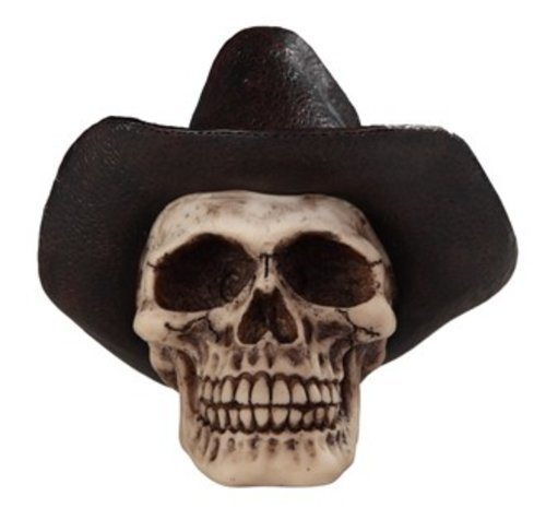 StealStreet SS-G-44072 Cream Skeleton Skull with Black Cowboy Hat Decorative Figurine (Black Cowboy Hat With Skull)