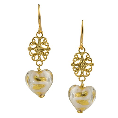 Gold Plated White Swirl Gold-Foil Heart Shaped Venice Murano Glass Dangle Earrings - 0504 -