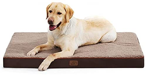 Bedsure Extra Large Dog Bed for Large Dogs Up to 100lbs – XL Orthopedic Dog Beds with Removable Washable Cover, Egg Crate Foam Pet Bed Mat, Brown