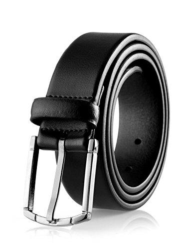 Savile Row Men's 100% Leather Classic Dress Belt Black (Size 38)