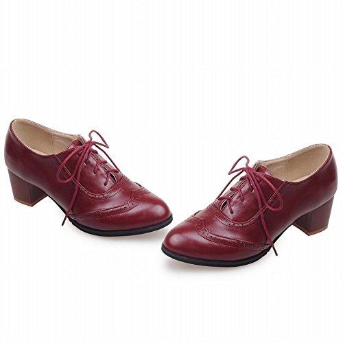 Scarpe Da Donna Latasa In Pelle Con Tacco Medio Oxford Color Claret-rosso