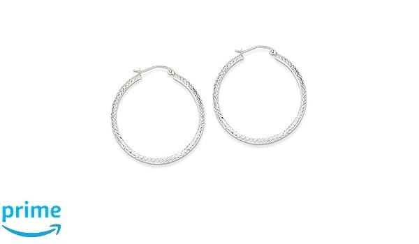 14K White Gold Diamond-cut 3.5x34mm Hollow Hoop Earrings