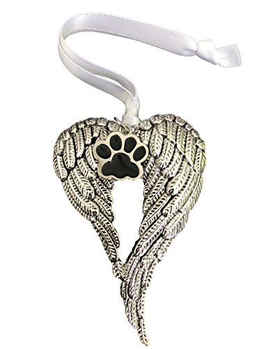 Pet Loss Memorial Ornament Gifts Sympathy Gift Angel Wings Pet Paw Print Charm for Anyone Grieving Over Loss of A Pet Help Overcome Pet Loss with A Pet Sympathy Memory Keepsake Diezel Pet Products
