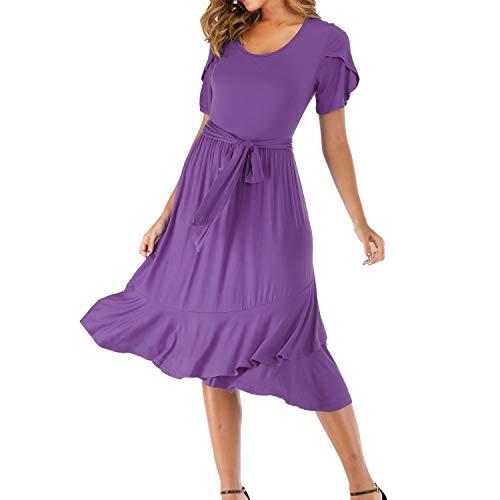 Womwear Women's Scoop Neck Short Sleeve Empire Waist Plain T-Shirt Dress Ruffle Hem Flowy Party Dress Loose Swing Casual Elegant Midi Dress with Belt