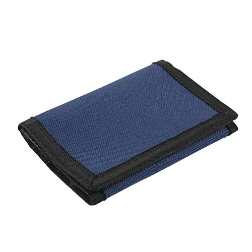 RFID Wallet Camouflage Wallet Nylon Trifold Wallets for Men,Mini Trifold Coin Purse with Zipper for Kids (Navy Blue)