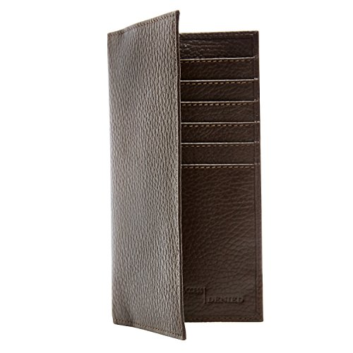 Genuine Leather Checkbook Cover Wallet Unisex 11 Card Slots With ID Window RFID Blocking Top Fold Checkbook Wallet