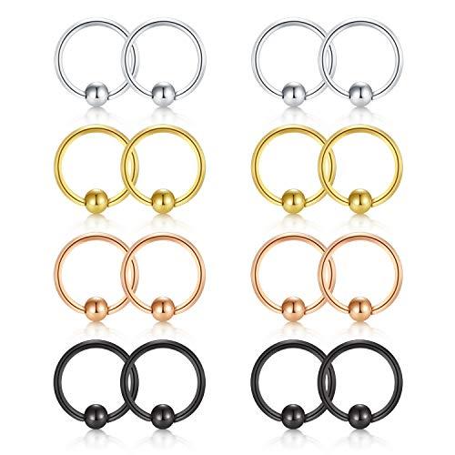 FECTAS 18G Beads Cartilage Earrings Hoop Nose Septum Rings Helix Daith Tragus Earring Lip Ring