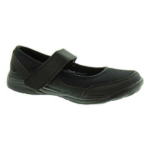 Heavenly Feet - Ladies Hilton Flat Bar Shoes In Black, 5 UK Adult