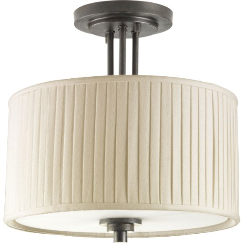(Progress Lighting P3759-84 2-Light Semi-Flush Highlighted By Modern Drum Shades In Cream Linen Fabric with Soft Side Pleats,)