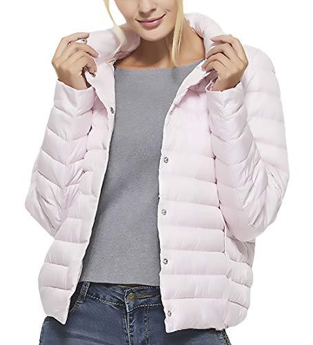 Debout Fashion Elégante Jeune Manches Unicolore Bouton Quilting Éteint Femme Stepp Blouson Hiver Manteau Doudoune Automne Pink Cheminée Col Décontracté Chic Longues 4vxqwY0