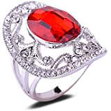 Retro Hollow Design Red Glass CZ Crystal 18K White Gold Plated Engagement Ring LOVE STORY (9#)