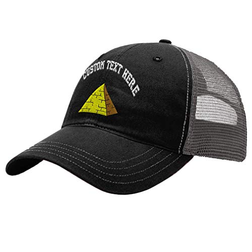 Custom Pyramid Unisex Adult Snaps Cotton Richardson Unstructured Front and Mesh Back Cap Adjustable Hat - Black/Charcoal