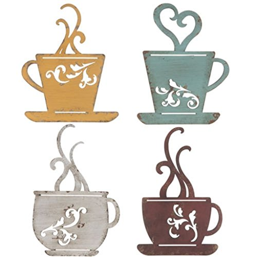 Collection Metal Coffee Cup Wall, Kitchen Restaurant Coffee Shop Decor! Set of 4 for $<!--$26.90-->