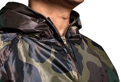 GOLD XIONG PADISHAH Sweat Sauna Suit for Men Women Zipper Anti-Rip Hoodie Weight Loss Workout Suits Camouflage and Black 4