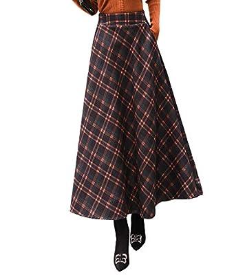 RIZ-ZOAWD Women's Elegant Lattice Woolen Long Elastic Waist Autumn Winter Warm Skirt
