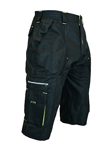 The Gravel 1/2 Pants - Long Mountain Bike MTB Baggy Shorts with 7 Pockets, Side Vents, and Dry-Fast Wicking (X-Large, Black/Yellow - No Undershorts) (Best Mtb Baggy Shorts)