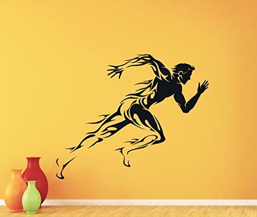 Running Wall Decal Runner Run Marathon Sprint Gym Fitness Workout Sport Poster Vinyl Sticker Kids Teen Boy Room Nursery Bedroom Wall Art Decor Mural 100nnn